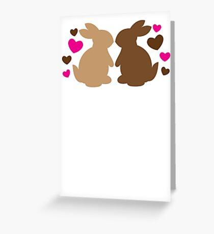 Chocolate bunnies in love Greeting Card