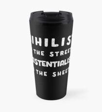 Nihilist in den Straßen, Existentialist im Blatt-T-Shirt Thermobecher