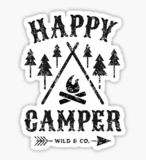 Happy Camper distressed black Sticker
