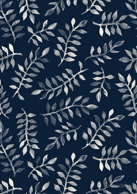 Quot White Leaves On Navy A Hand Painted Pattern Quot By Micklyn