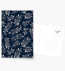 White Leaves on Navy - a hand painted pattern Postcards