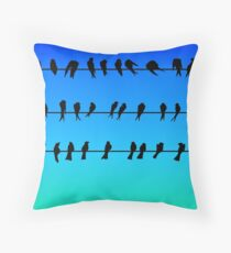 Birds on a Wire No.1 Throw Pillow