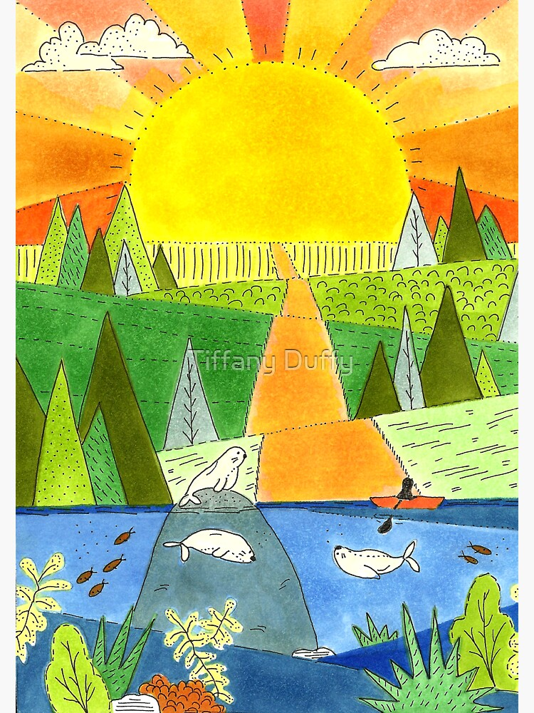 Seal River Kayak Happy Place Illustration by tiffjamaica