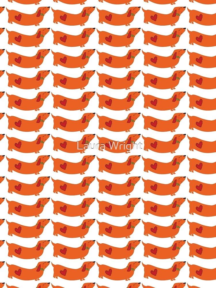 dachshund - orange by laurathedrawer