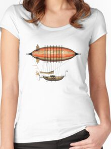 Elegant Vintage Steampunk Airship Women's Fitted Scoop T-Shirt