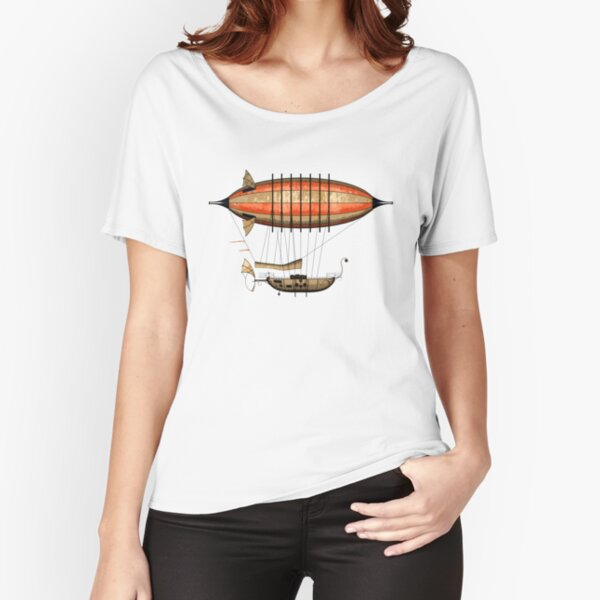 Elegant Vintage Steampunk Airship Relaxed Fit T-Shirt
