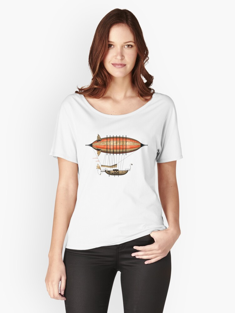 Elegant Vintage Steampunk Airship Women's Relaxed Fit T-Shirt Front