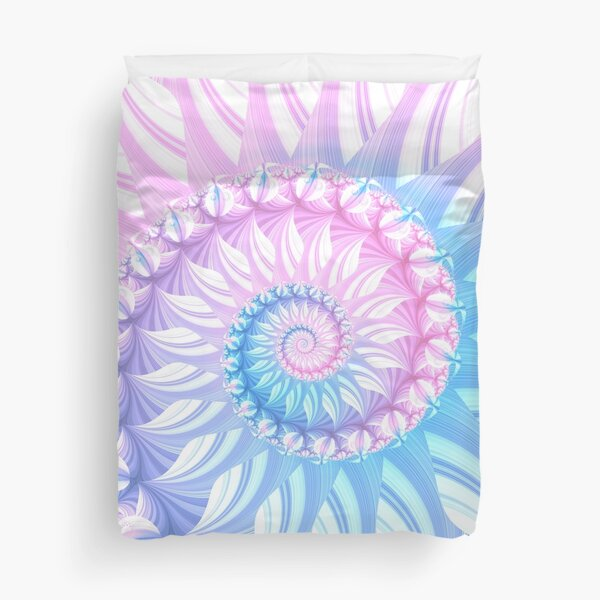 Striped Pastel Spiral in Pink, Blue and Purple Duvet Cover