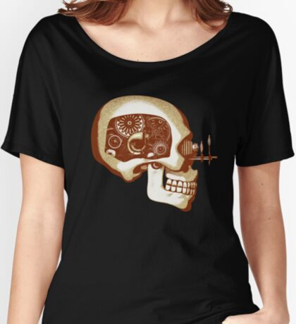 Vintage Steampunk Automaton Skull #1C Women's Relaxed Fit T-Shirt