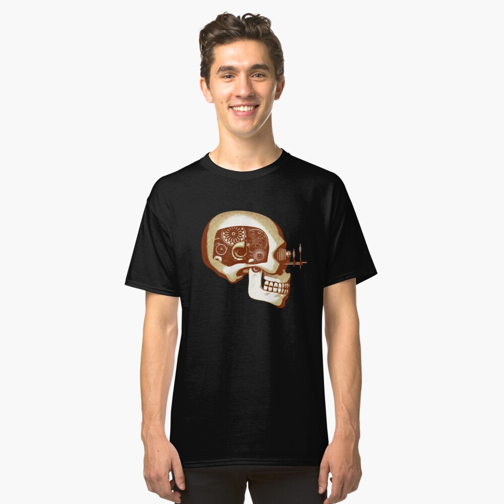 Vintage Steampunk Automaton Skull #1C Classic T-Shirt