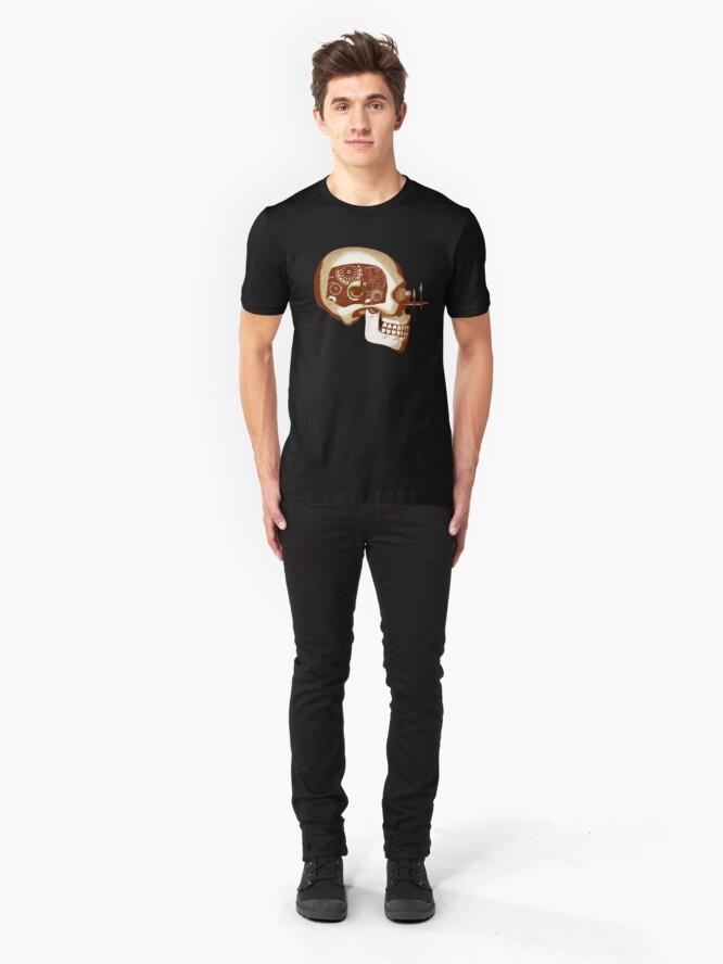 Alternate view of Vintage Steampunk Automaton Skull #1C Slim Fit T-Shirt
