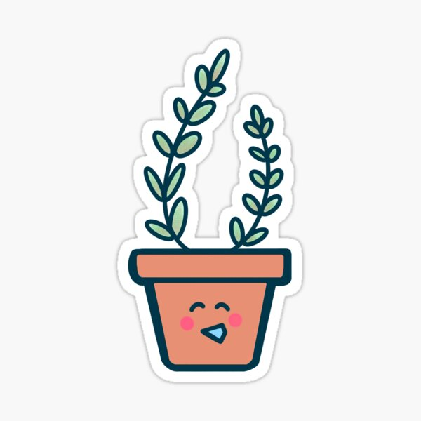 """Cute Potted Plant - """"Lila"""" Glossy Sticker"""
