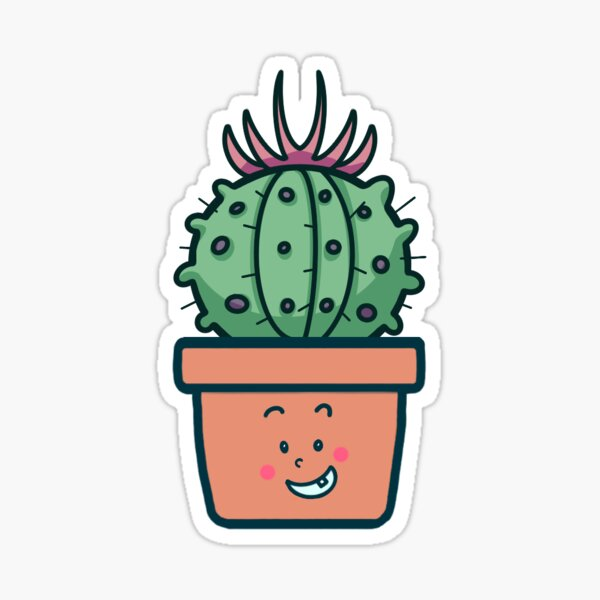 """Cute Potted Plant - """"Billy"""" Glossy Sticker"""