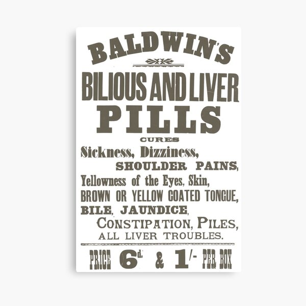 Baldwin's Bilious and Liver Pills Canvas Print