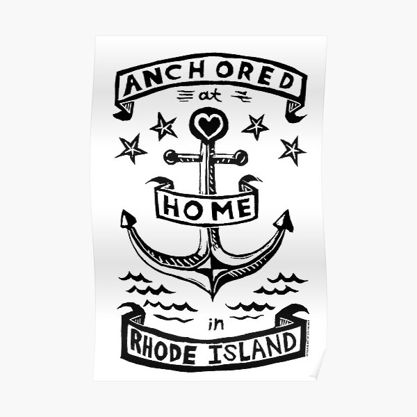 Anchored at HOME in Rhode Island - original linocut design and print Poster
