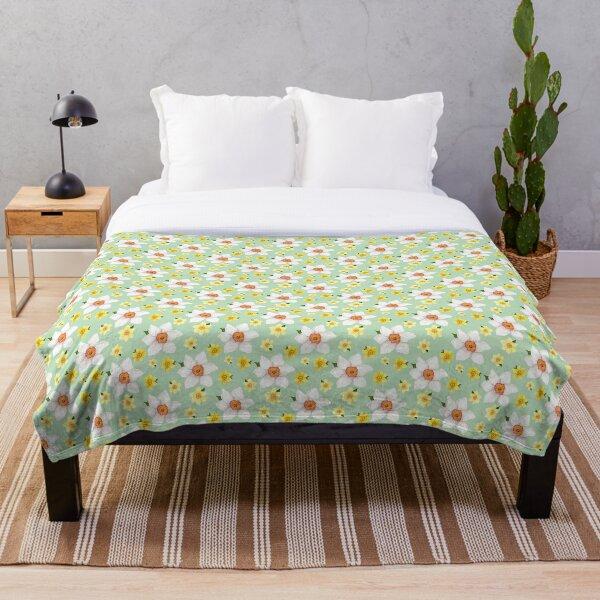 Watercolour Daffodil Repeat Pattern Throw Blanket