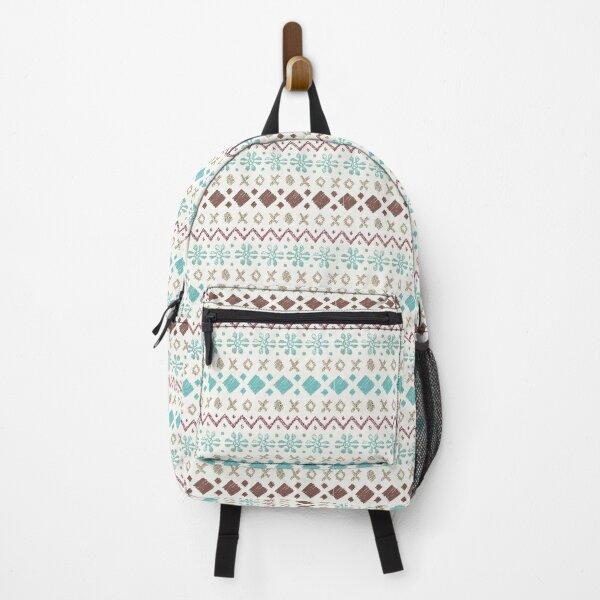 Fairisle pattern - turquoise & brown Backpack