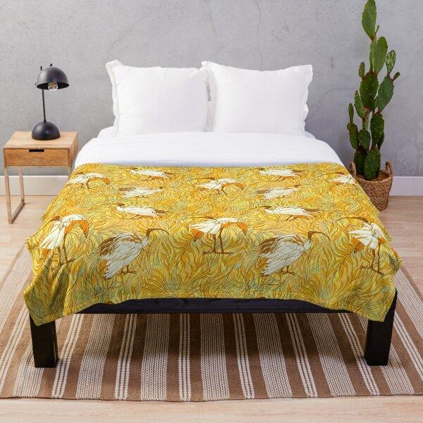 Summertime Ibis - Sunglow Orange Throw Blanket
