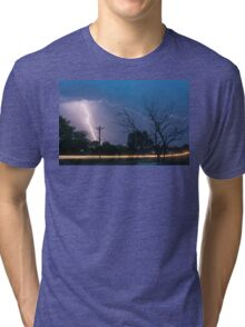 17th Street Car Lights and Lightning Strikes Tri-blend T-Shirt