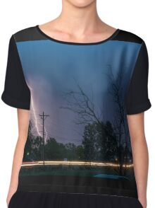 17th Street Neon Lights and Lightning Strikes Chiffon Top