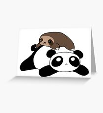 Little Sloth and Panda Greeting Card