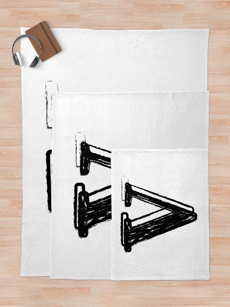 Alternate view of Black chalk letter V Throw Blanket