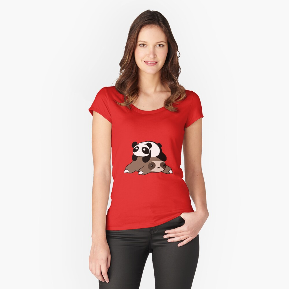 Sloth and Panda Fitted Scoop T-Shirt