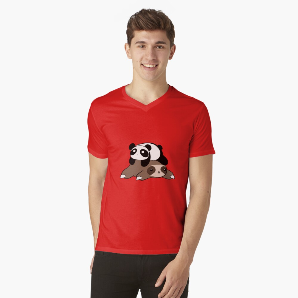 Sloth and Panda V-Neck T-Shirt