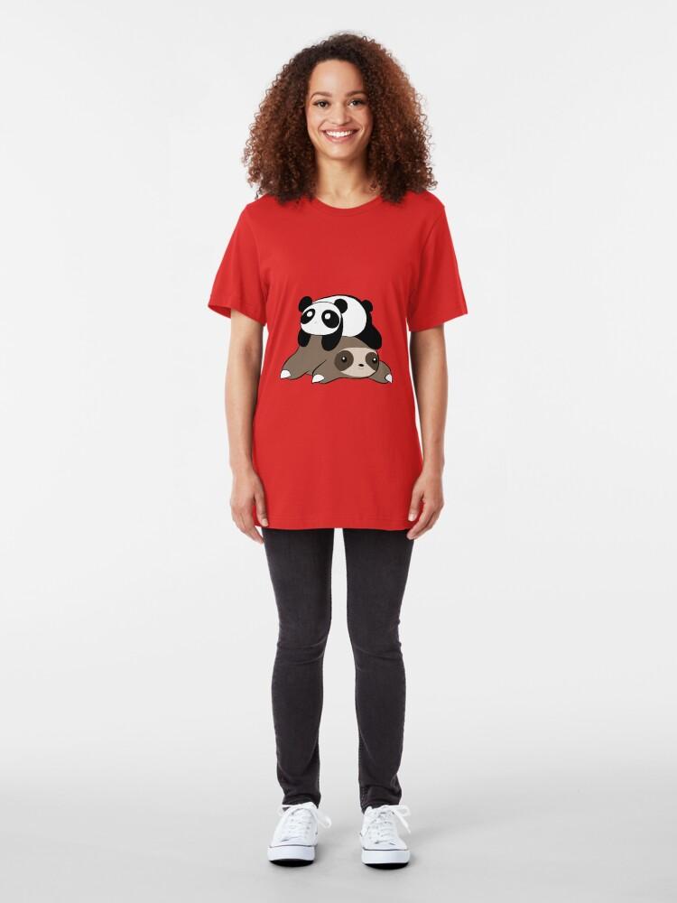 Alternate view of Sloth and Panda Slim Fit T-Shirt