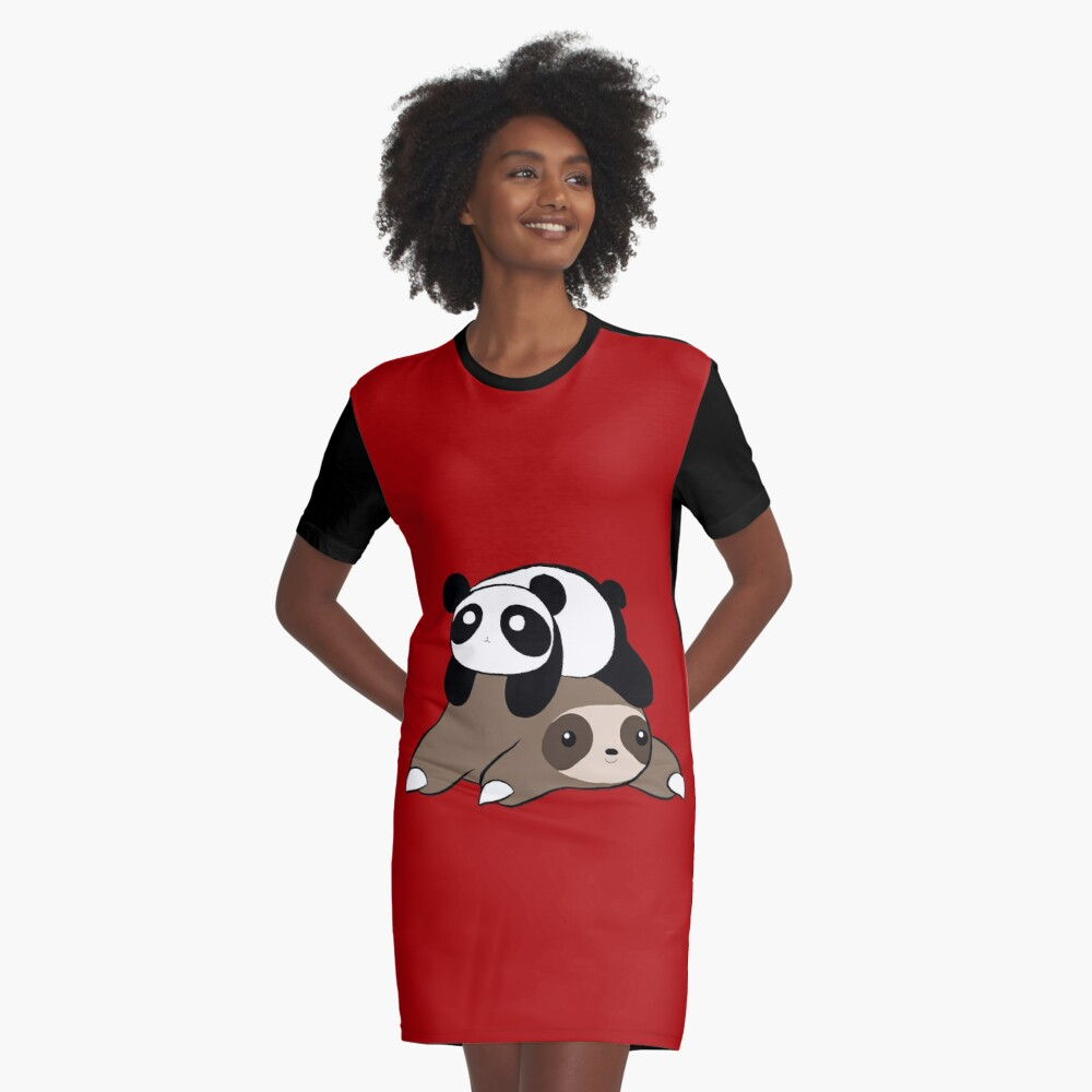 Sloth and Panda Graphic T-Shirt Dress