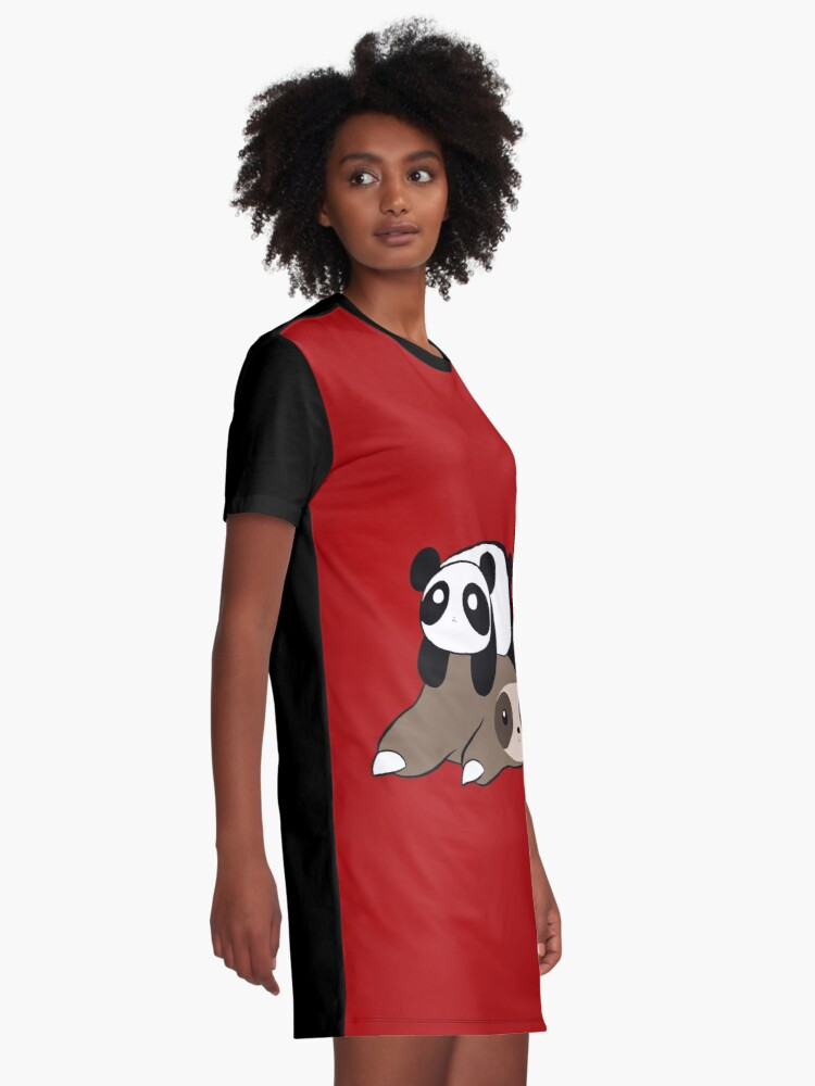 Alternate view of Sloth and Panda Graphic T-Shirt Dress