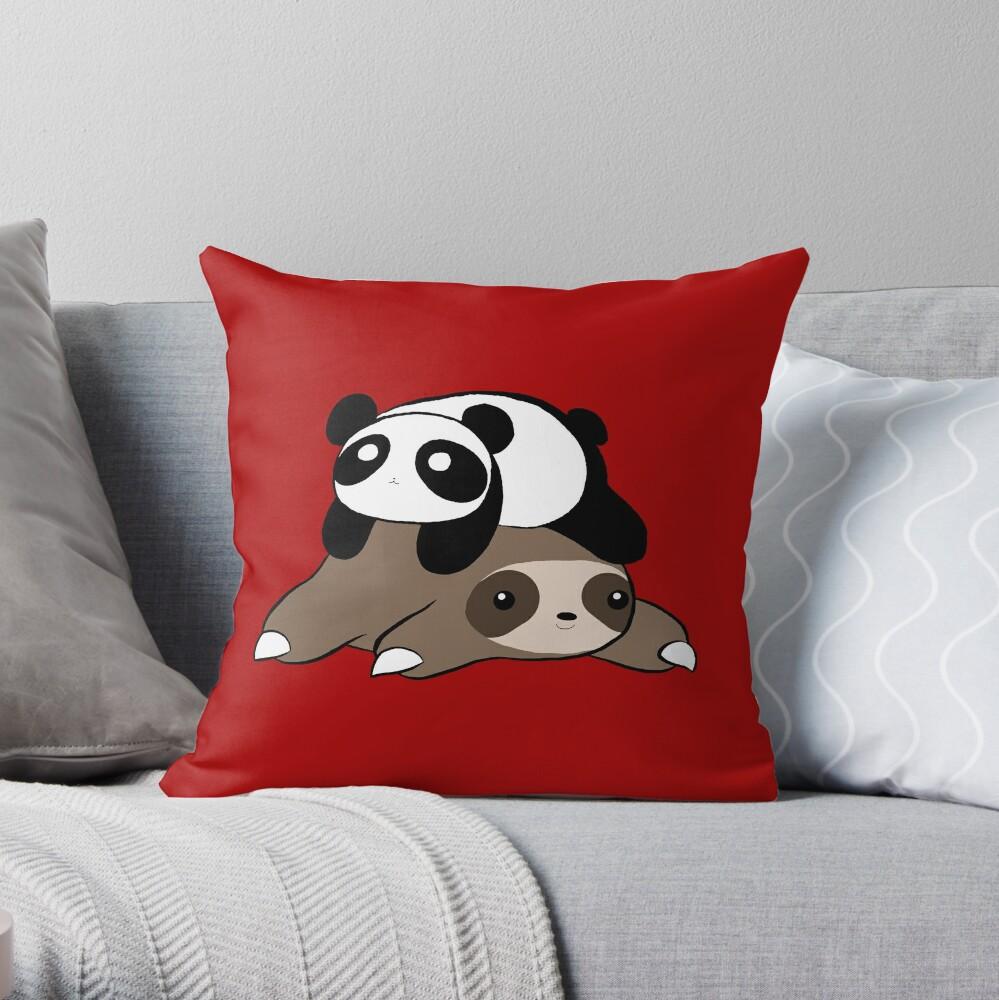 Sloth and Panda Throw Pillow