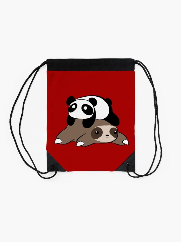 Alternate view of Sloth and Panda Drawstring Bag