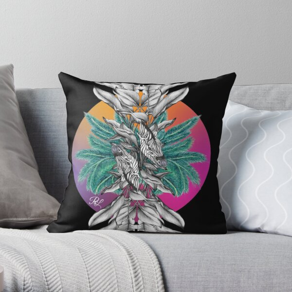 Zebra Palm Tree Throw Pillow