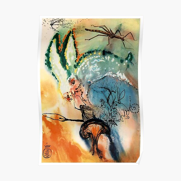 DALI : Vintage Alice in Wonderland Down The Rabbits Hole Print Poster