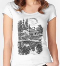 XIX century Palace in european village, Poland Women's Fitted Scoop T-Shirt