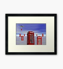 Alien London Phone Box Abduction Framed Print