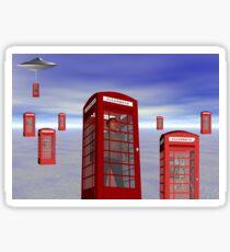 Alien London Phone Box Abduction Sticker