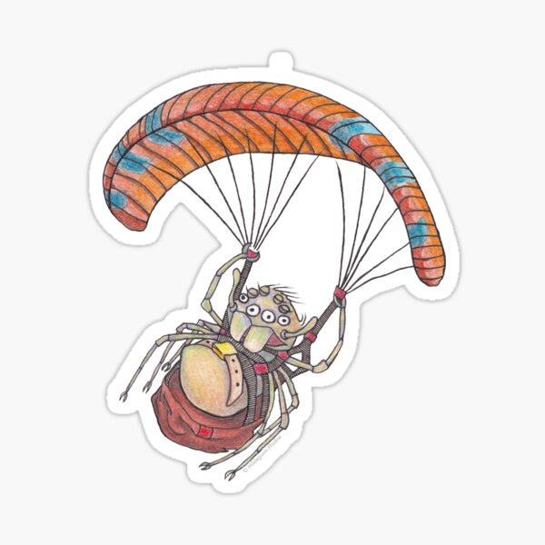 Hang gliding spiderling Sticker
