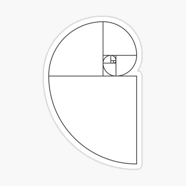 Golden Ratio Spiral - Sections Outline Sticker
