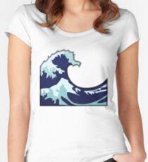 Water Wave Emoji Women's Fitted Scoop T-Shirt
