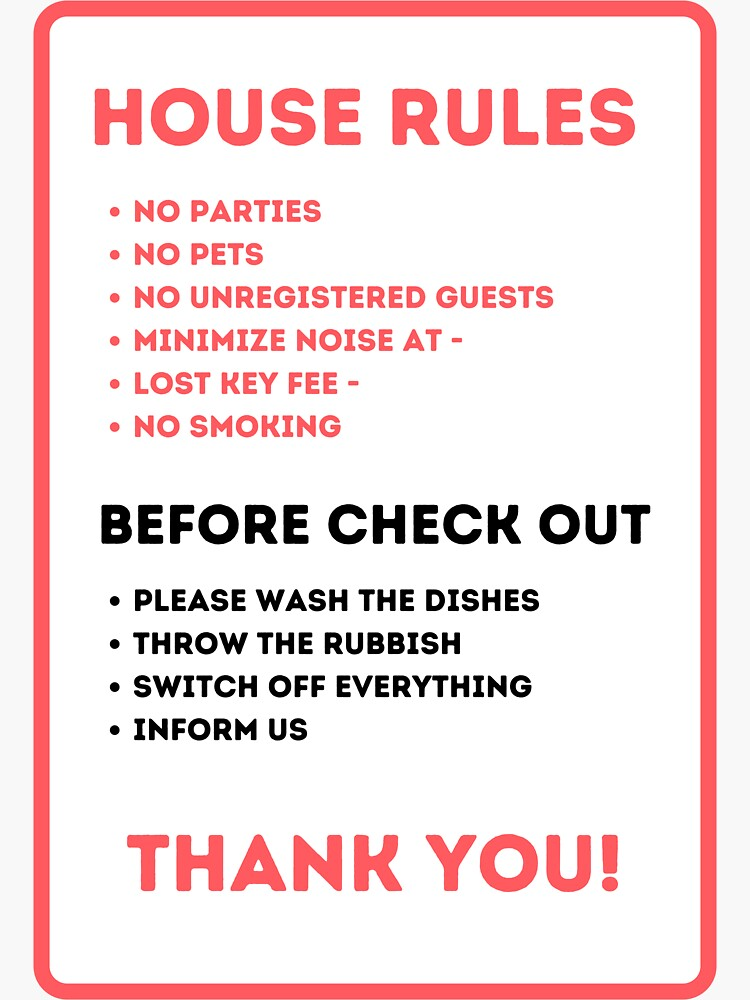 House Rules for Vacation Rentals by IronMark19