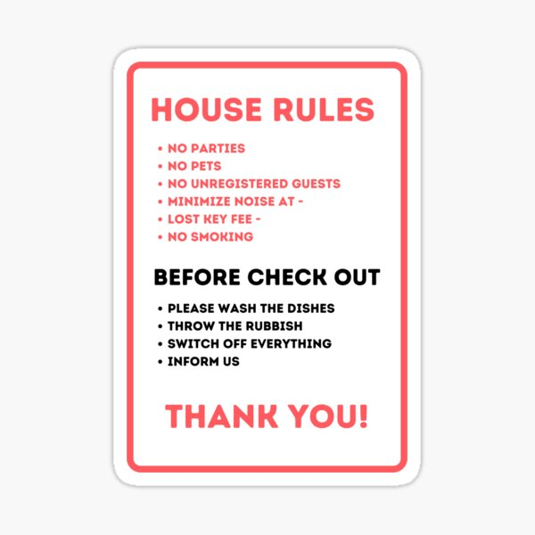 House Rules for Vacation Rentals Sticker