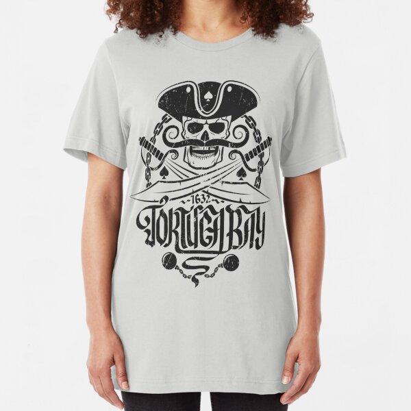 Tortuga pirates skull logo Slim Fit T-Shirt