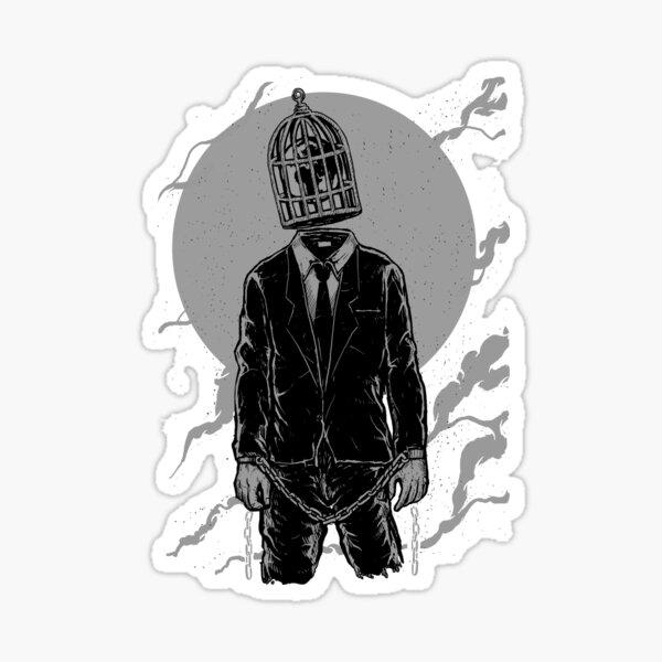 Surreal Caged Man Sticker