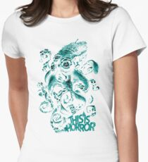 This Is Horror Green on White OctoTerror Women's Fitted T-Shirt