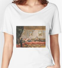 Francesco Guardi  - Two Odalisques Playing Music In The Harem 1742.  Guardi - woman portrait. Women's Relaxed Fit T-Shirt