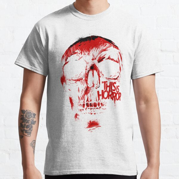 This Is Horror Classic Red on White Skull Classic T-Shirt