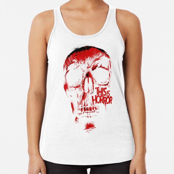 This Is Horror Classic Red on White Skull Racerback Tank Top