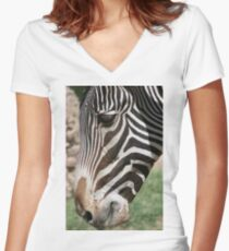 Zebra up Close... Women's Fitted V-Neck T-Shirt